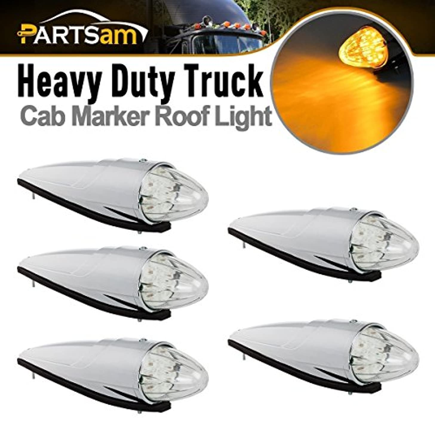 Partsam 5pc Super Bright Amber Yellow 17 LED Clear Lens Torpedo Chrome Cab Marker Top Roof Running Lights Assembly Compatible with Kenworth/Peterbilt/Freightliner/International/Mack Paccar Semi Truck