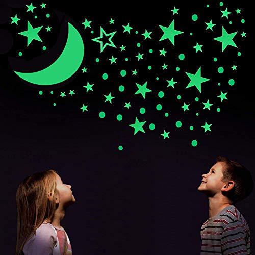 314 Stücke im Dunkeln Leuchten Mond Stern Punkt Aufkleber Wandtattoos Fluoreszierende Leuchtende Selbstklebend Wand Decke Abziehbilder für Party Kinderzimmer Dekorationen