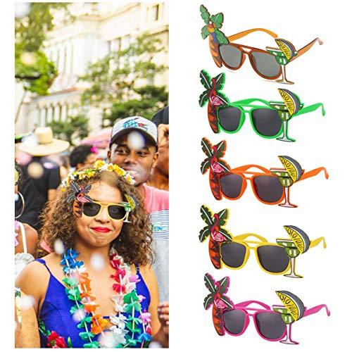 dancepandas Gafas Hawaianas Sol 5PCS Gafas de Fiesta Divertidas Tropicales Gafas de Flamenco Gafas Decorativas para Niños y Adultos