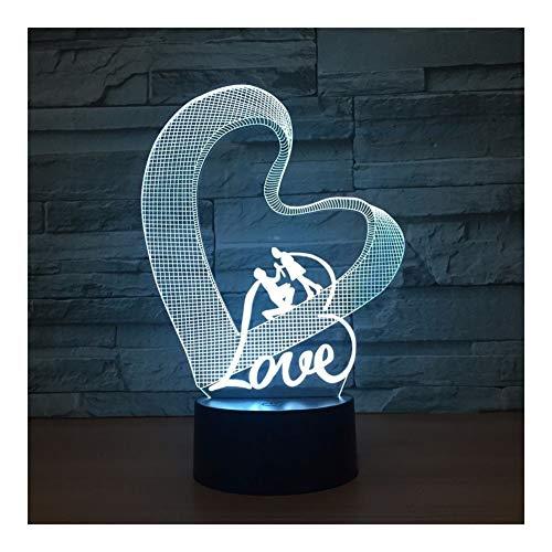LOVE 7 Couleur 3d Veilleuse Atmosphère Romantique Lampe (Color : Love Multi-colored)