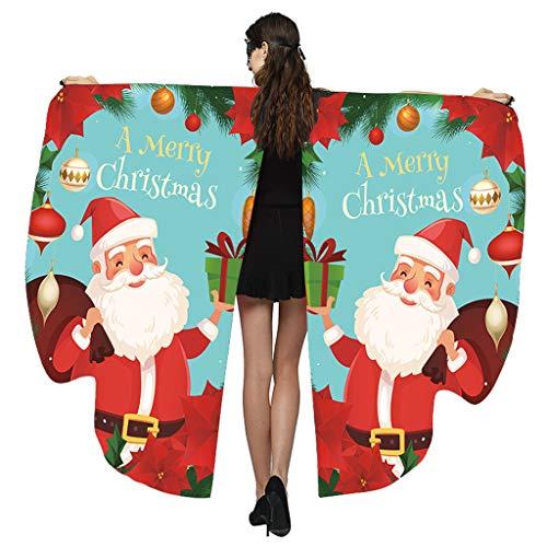 Andouy Damen Schmetterlingsflügel Schal Tuch Poncho Umhang Nymphe Pixie Flügel für Party Weihnachten Cosplay Karneval(168X135CM.Blau-2)