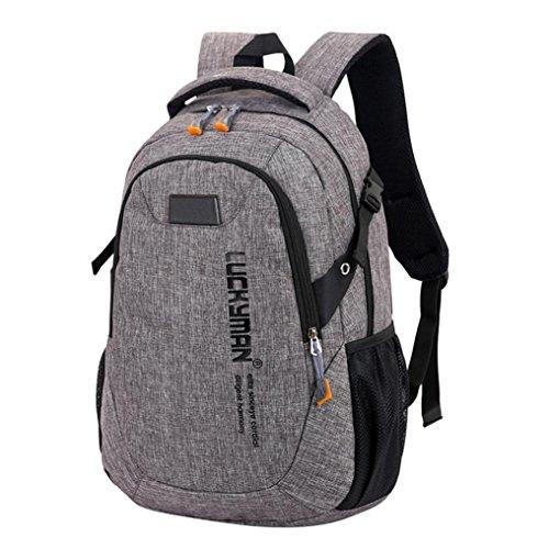 Hevoiok Unisex Schulrucksack Freizeitrucksack mit Reißverschluss Backpack Damenrucksack Laptoprucksäcke Herren Schülertasche für Arbeit Schule Reise (Grau)
