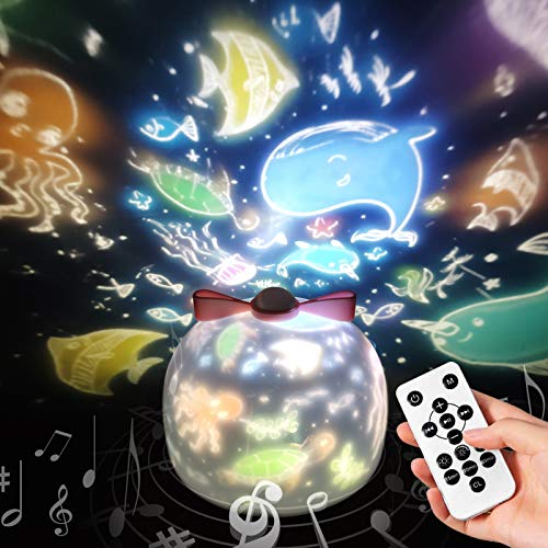 Sternenhimmel Projektor Lampe mit Fernbedienung SYOSIN Kinder LED Musik Nachtlicht mit 8 Projektionsfilmen 360 ° Drehbar für Geburtstage, Halloween, Weihnachtsgeschenke, Kinderzimmer Dekoration