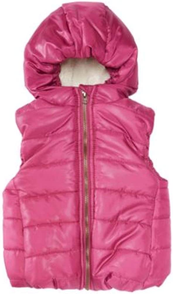 First Impressions Dark Pink Baby Girls Hooded Vest: Clothing