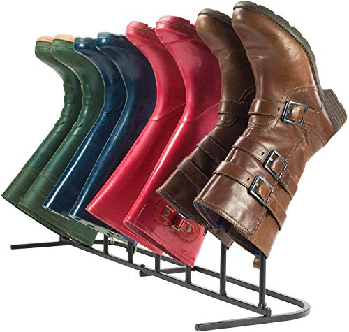 Boot Rack - Strong and Sturdy, Perfect for Storing & Drying. Compact Size Allows for Limited Space and Portable Storage of Your Boots .4 Pairs Boot Rack Free Standing Organizer, Simple Assemble, Iron Metal Shoes Storage Holder for Tall Knee-High, Hiking, Riding, Rain in Closets, Entryways and Outdoor !