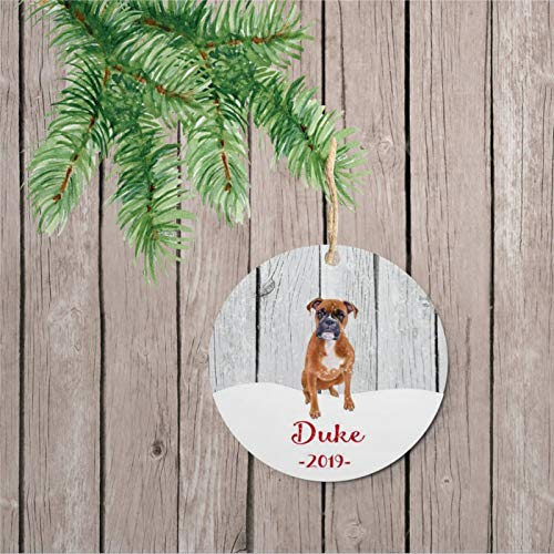 DONL9BAUER Boxer Dog Lover Personalized Ceramic Art Christmas Ornament, Christmas Decorations Keepsake Present for Christmas Eve, Family,Xmas.