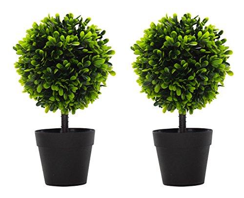 DARO DEKO Kunst-Pflanze Buchs-Baum mit Stamm 2 Stück