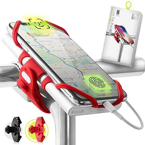 Bone Collection 2-in-1 Smartphone sowie Powerbank (Nicht enthalten) Halterung, Face ID kompatibel Fahrrad Handyhalterung für Vorbau 4-6,5 Zoll Smartphones, Ultraleicht - Bike Tie Pro Pack, Rot