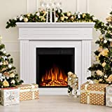 JAMFLY Electric Fireplace Mantel Package Wooden Surround Firebox TV Stand Free Standing Electric Fireplace Heater with Logs, Adjustable Led Flame, Remote Control, 750W-1500W, White