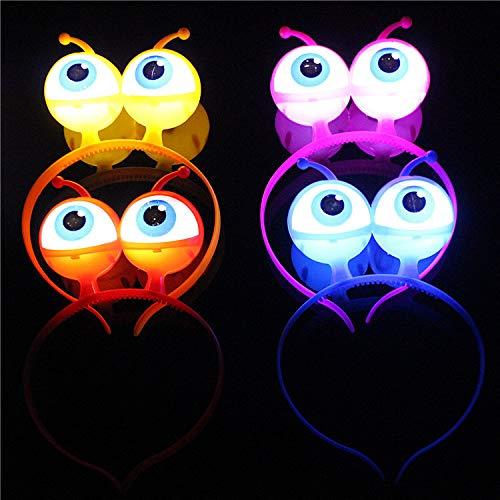 2 diademas luminosos LED intermitentes ojos Alien para decoración de Halloween Fiesta Fiesta discoteca Party Color...