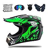 MRDEAR Motocross Helm Herren - Grün/DOT-Zertifikat - Crosshelm Set (Brille Handschuhe Maske...