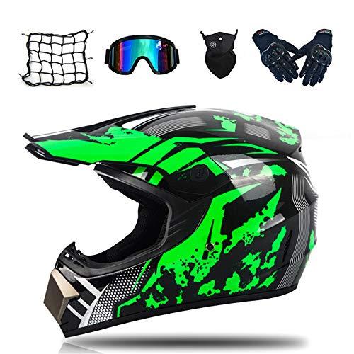 MRDEAR Motocross Helm Herren - Grün/DOT-Zertifikat - Crosshelm Set (Brille Handschuhe Maske Motorrad Netz, 5 Stück) Fullface MTB Helm Kinder Motorradhelm Downhill Offroad Quad Enduro ATV,M