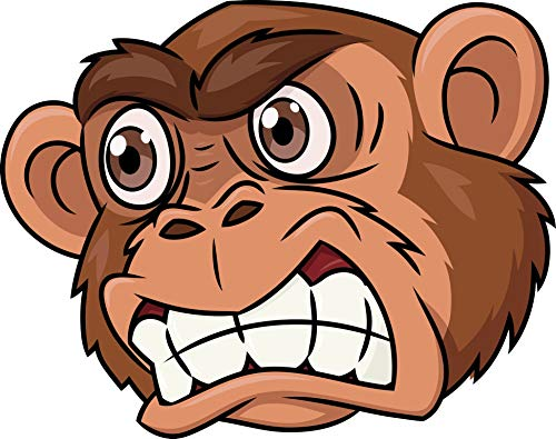 Angry Mad Hairy Brown Monkey Cartoon Vinyl Decal Sticker (4' Wide)