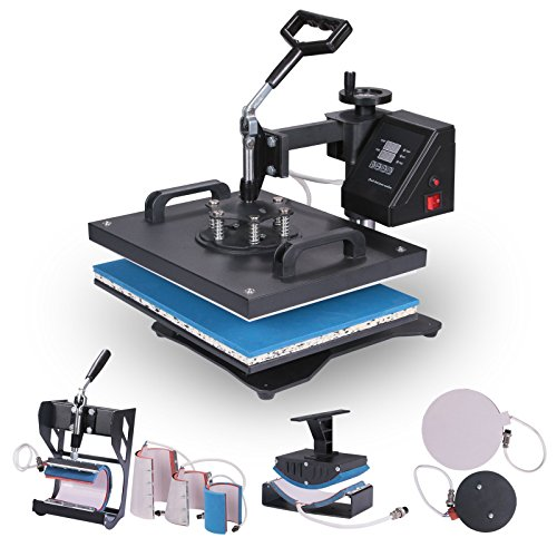 Lartuer Transferpresse Tassenpresse Textilpresse T Shirtpresse Heat Press Machine 8 in 1 Mulitifunktional Sublimation 360-Grad-Drehung (8IN1)