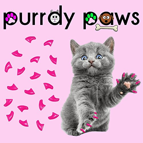 purrdy Pfoten 40er Lippenstift Pink Soft Nail Kappen für Katzen Krallen (groß)