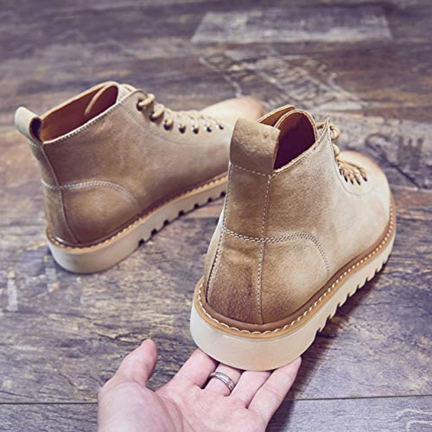 ZyuQ Ankle boots Men'S shoes Autumn High Help Martin Boots Men'S Middle Help Retro Men'S Boots Pu Thick Boots