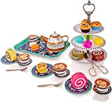 Milly & Ted 39 Stck Nachmittagstee Party Teaset fr 4 - Kinder Metall Tee Set - Pretend Play Essen Kuchen Kekse
