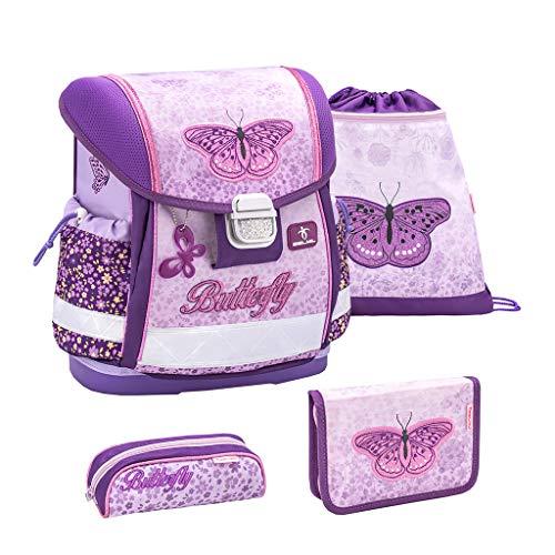 Belmil Schulranzen Set 4 - teilig ergonomischer Schulranzen Mädchen 1. klasse 2. klasse 3. klasse - Super Leicht 860-950 g/Grundschule/Schmetterling/Lila, Purple (403-13 Shiny Butterfly)