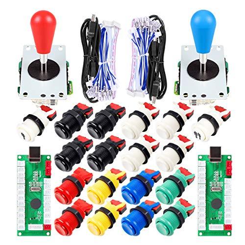 EG STARTS 2 Spieler Arcade Joystick DIY-Teile 2X USB Encoder + 2X Ellipse Oval Joystick Griff + 18x American Style Arcade Buttons für PC, MAME, Raspberry Pi, Windows-System (Mix Color Kit)