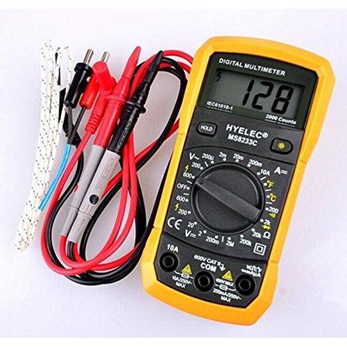 mark8shop HYELEC MS8233C Multifunktions Mini Digital-Multimeter mit Summer DMM AC DC Temperatur Test Back Light Multimeter Amperemeter MultiTester