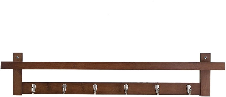 Wooden Coat Rack Heavy Duty Nickel Hooks Wall Mount Clothes Hat Holder Brown (Size   87cm(6 Hook))
