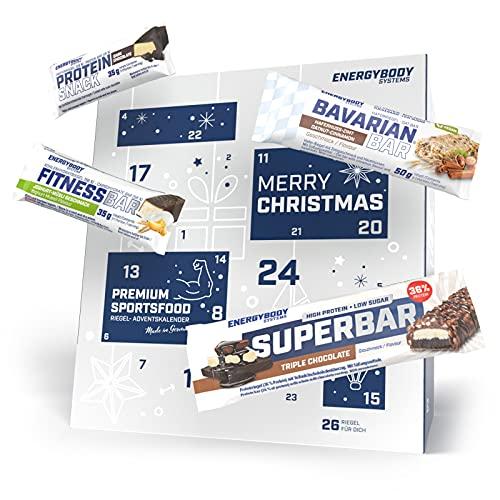 Energybody Riegel Adventskalender 2021 für Sportler und Genießer, Proteinriegel, Haferriegel & Ausdauerriegel, 26 Riegel, tolles Geschenk für Männer und Frauen