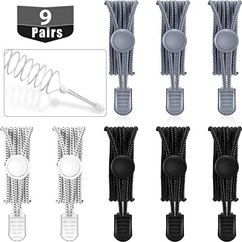 9 Pairs No Tie Elastic Shoelaces Adjustable Lock Tieless Shoe Laces for Sneakers(Black, White and Gray)