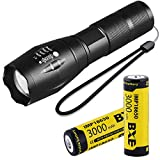 Best 18650 Battery Button Tops - 18650 Flashlight Set with 2x 18650 Battery 3000mAh Review