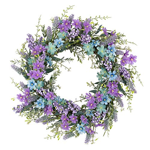 VGIA 20 Inch Artificial Flower Wreath Beautiful Silk Spring Wreath for The Front Door, Home Decor Weddings,Purple florets, Purple Berries, Lavender with Green Leaves