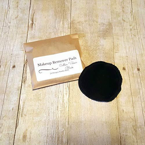Black Reusable Cotton Velour Makeup Remover Pads - 10 Pack