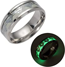 Geek & Glitter Superman Kryptonite Glow-in-The-Dark Ring   Titanium Stainless Steel Silver Ring Band   DC Superhero Cosplay Jewelry