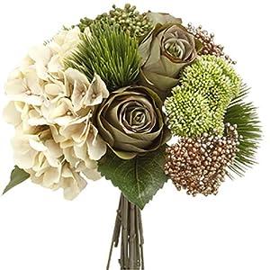 13″ Hydrangea, Rose & Amaryllis Silk Flower Bouquet -Eggshell/Green (Pack of 6)