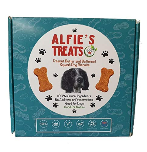 Alfie's Treats- Peanut Butter and Butternut Squash Premium Healthy Dog Treats| Eco Friendly Plastic Free Packaging| Additives Free| Box of 32 biscuits -200 grams