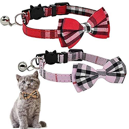 Kingkindsun Katzenhalsband, mit Sicherheitsverschluss und Glöckchen, Katzenhalsbänder mit Schleife Krawatte für Kleine Hunde und Katzen, 2 Pack(Rot + Pink)