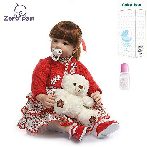 Zero Pam 60cm Wiedergeboren Babypuppen Wie Echte Babys Direkt Süße Puppe Mit Buntem Prinzessin Kleid, Geschenke Für Mädchen Ab 3 Jahren
