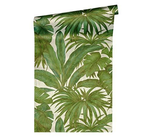 Versace wallpaper Vliestapete Giungla Luxustapete mit Palmenblättern Dschungel 10,05 m x 0,70 m beige grün metallic Made in Germany 962405 96240-5