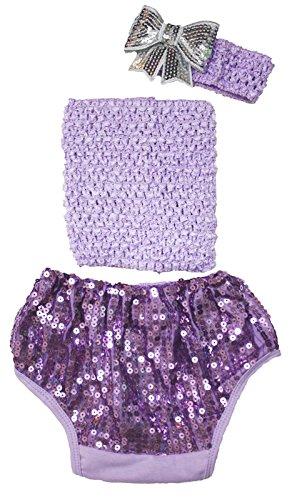 Lavande Tube Dessus avec paillettes Coton bloomer Pantalon Ensemble Vêtements bébé Lot de 3–12 m - Violet -