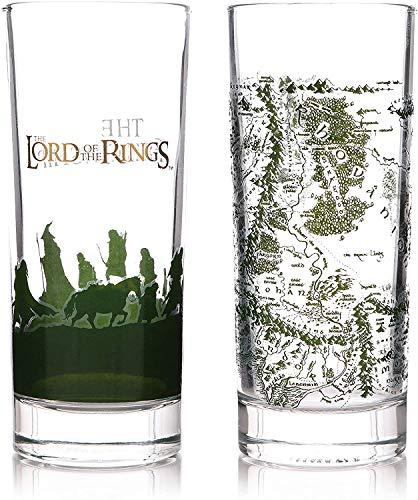 Herr der Ringe - Vasos - Tierra media - Juego de 2 vasos - Los compañeros - Caja de regalo