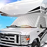 BougeRV RV Windshield Window Snow Cover for Class C Ford 1997-2022 Motorhome Windshield Cover Snow Cover for RV Front Window Sunshade Cover RV Accessories 4 Layers with Mirror Cutouts Silver
