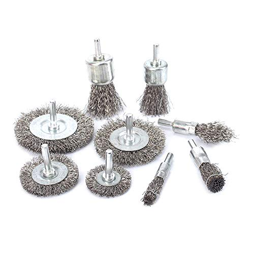 9Pcs Stainless Steel Wire Brushes Wheel kit for Drill with 1/4'shank 0.3mm for Removal of Rust/Corrosion/Paint