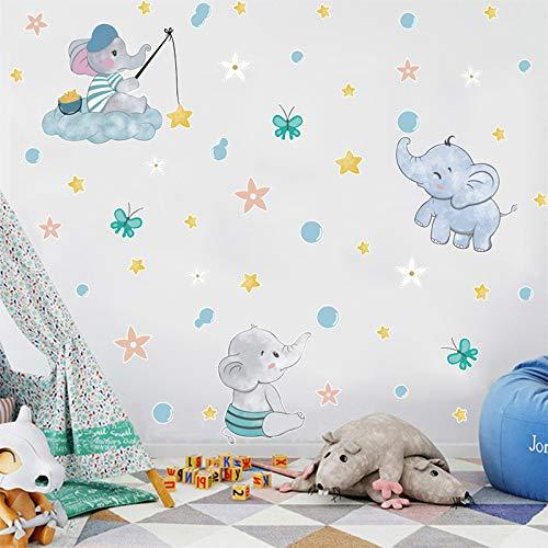 Vinilo Decorativo Habitación Infantil Chico&Niña Elefante-Estrella-Polo acuático Etiqueta de Pared Habitación Del Bebé Etiqueta de la Pared Autoadhesiva Estrellas Flores Niños