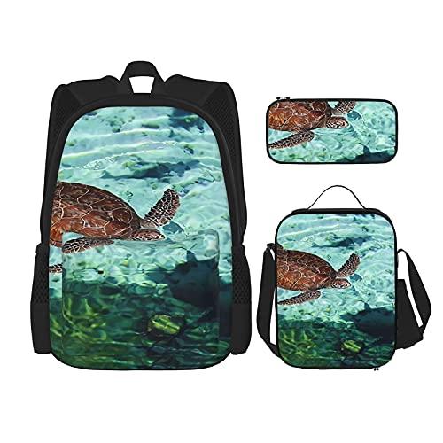 Tortugas en aguas transparentes mochila escolar 3 piezas, bolsa escolar + estuche + bolsa de almuerzo combinación impresión 3D, lona viaje camping mochila juvenil