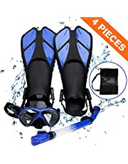 Smyidel Snorkelset, duikbril met snorkel en zwemvliezen, snorkelset voor volwassenen, duikbril, met snorkel voor heren en dames, duiken, 3-delige set