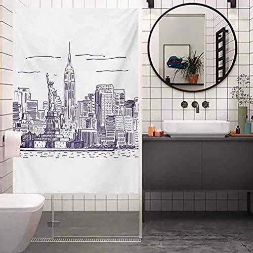 Película de cristal de la ventana, Nueva York Sketchy Simple View of NYC Statue of Liberty F, película de vidrio de privacidad para el hogar y la oficina, W17.7 x H78.7 pulgadas