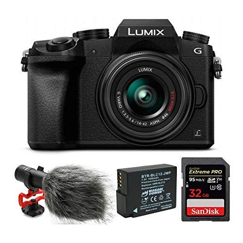 Panasonic LUMIX G7 Mirrorless Digital Camera with 14-42mm Lens and 32GB Compact Microphone Bundle