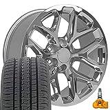 OE Wheels LLC 20 Inch Fit Chevy Silverado Tahoe GMC Sierra Yukon Cadillac Escalade CV98 Chrome 20x9 Rims CV98B Bridgestone Dueler Alenza HLTires Lugs TPMS Hollander 5668 SET