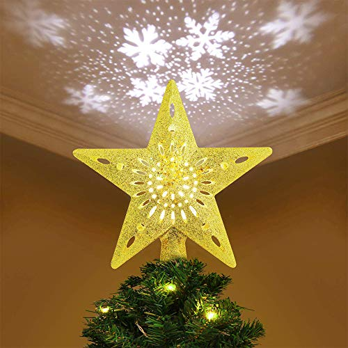 YZHI Christmas Tree Topper Projector Lighted Ornaments Snowflake Lights 3D Star Xmas Tree Decoration (Gold)