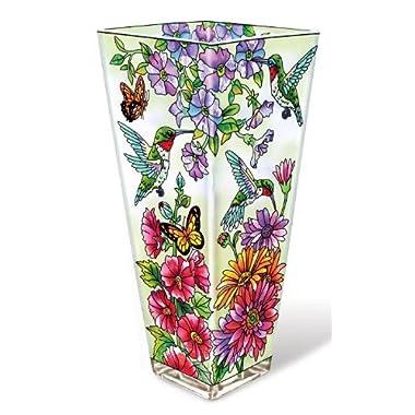 Amia 10-Inch Glass Vase Hand-Painted Hummingbird Design