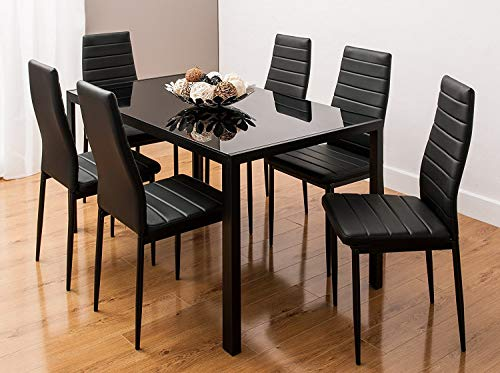 KOSY KOALA Black Glass Dining Table Set And 6 Faux Leather Black Chairs Glass Kitchen Dining Table Set (All Black Table With 6 Chairs)