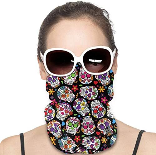 MOONLIT DECAYED Dead Sugar Skull Psychedelic Neck Gaiters with Ear Loop Balaclavas Face Shields product image